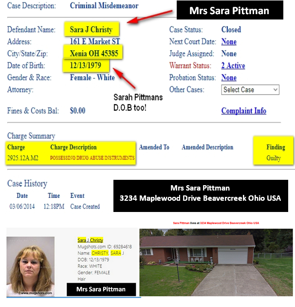SARA PITTMAN EXcon 3234 Maple Wood Drive BeaverCreek OHIO 45434